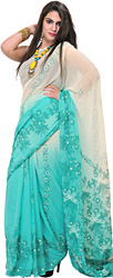 Ivory and Green Shaded Lukhnavi Chikan Sari with Embroidered Flowers by Hand