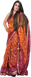 Brown and Pink Bandhani Tie-Dye Sari from Gujarat with Brocade Border