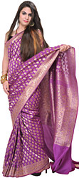 Dahlia-Colored Traditional Banarasi Sari with Woven Bootis and Brocaded Aanchal