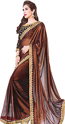 Copper-Brown Plain Shimmer Sari with Temple Border and Sequins