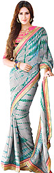 Gray and Pink Sari with Batik Print and Embroidered Blouse