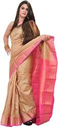 Taos-Taupe Bangalore Silk Sari with Woven Bootis and Brocaded Pallu