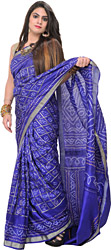 Royal-Blue Bandhani Tie-Dye Gharchola Sari from Gujrat with Golden Thread Weave