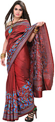 Rosewood-Red Kantha Sari from Kolkata with Embroidered Flowers