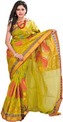 Oasis-Green Banarasi Handloom Sari With Woven Lotuses