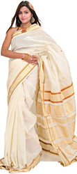 Whisper-White Kasavu Sari from Kerala with Woven Peacocks and Paisleys on Aanchal