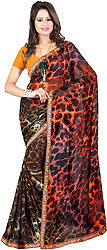 Orange Sari with Printed Loepard-Spots and Embroidered Patch Border