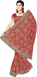 Maroon Bridal Sari with Sequins Embroidered All-Over