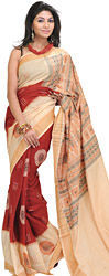Cream and Brown Bomkai Sari from Orissa with Woven Rudraksh Border