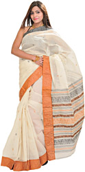 Ivory Baluchari Sari from Bengal with Woven Border and Aanchal