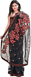 Jet-Black Designer Sari with Floral Embroidered Patches