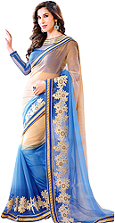 Cream and Blue Shaded Designer Shimmer Sari with Floral Embroidery