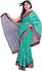 Turquoise and Blue Bandhani Tie-Dye Sari from Jodhpur with Woven Border