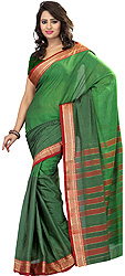 Verdant-Green South Cotton Sari with Woven Stripes and Thread Weave on Border
