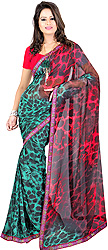 Teal and Pink Sari with Printed Leopard-Spots and Embroidered Patch Border