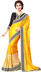 Yellow and Black Designer Sari with Embroidered Patch Border and Crystals