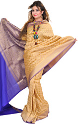 Traditional Banarasi Sari with Woven Bootis and Brocaded Aanchal