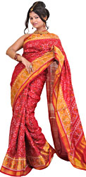 Pompeian-Red Patan Patola Sari from Gujarat with Ikat Weave