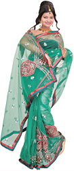 Marine-Green Wedding Shimmer Sari with Embroidered Patches and Beads
