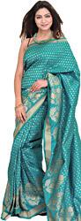 Tile-Blue Banarasi Sari with Woven Flower in Golden Thread