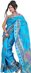 Hawaiian Ocean-Blue Sari with Hand-woven Lotuses All-Over