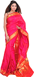 Bridal-Magenta Paithani Sari with Hand-woven Peacocks on Pallu