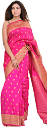 Magenta Sari from Banaras with Hand-Woven Apsaras on Aanchal