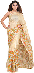Vanila Kantha Sari from Kolkata with Hand Embroidered Flowers and Fishes