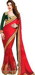 Tomato-Red  Designer Sari with Large Flowers Embroidered in Golden Metalic Thread