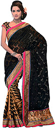 Black Wedding Sari with All-Over Woven Flowers and Wide Paisley Border