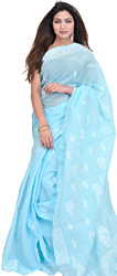 Crystal-Blue Chikan Sari from Lucknow with Hand-Embroidered Flowers and Paisleys