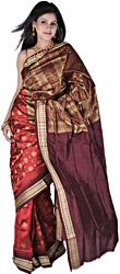 Deep-Claret Bomkai Sari with Hand-woven Bootis