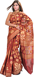 Brick-Red Banarasi Sari with Woven Flowers All-Over