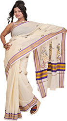 Winter-White Kasavu Sari from Kerala with Golden Border and Embroidered Baby Krishna