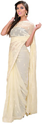 Vanila-Custard Sari with All-Over Embroidered Booties