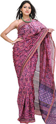 Phlox-Pink Chanderi Sari from Madhya Pradesh with Printed Flowers
