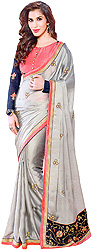 Gray Designer with Sari Ari Embroidered Flowers and Velvet Anchal