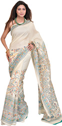 Ivory Sari from Jharkhand with Madhubani Print