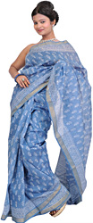Blue-Shadow Chanderi Sari with Printed Flowers and Woven Border