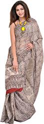 Ivory and Black Sari with Kalamkari Printed Paisleys