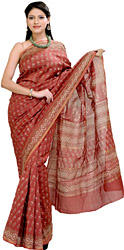 Earth-Red Chanderi Sari with Printed Flowers All-Over
