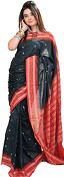 Black and Red Bomkai Sari from Orissa with Woven Bootis and Rudraksha Border