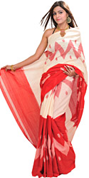 Cream and Red Sari from Pochampally with Ikat Weave