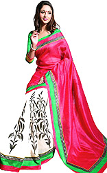 Tri-Color Sari with Printed Leaves and Solid Aanchal