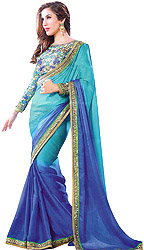 Blue-Atoll and Bright-Blue Shaded Sari with Sequined Patch Border and Embroidered Blouse