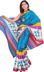 Bhagalpuri Sari with Printed Figures Inspired by Warli Art