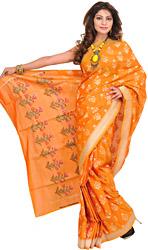 Golden-Nugget Banarasi Sari with Hand-woven Flowers on Pallu