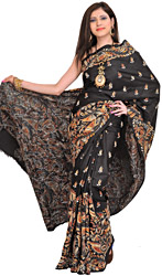 Phantom-Black Sari from Kolkata with Kantha Hand-Embroidery All-Over