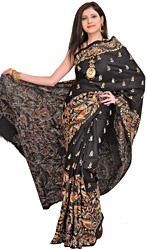 Phantom-Black Sari from Kolkata with Kantha Hand-Embroidery All-Over