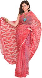Rococco-Red Jamdani Sari from Bengal with Woven Bootis